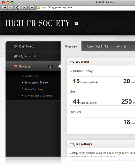 HighPRSociety.com screenshots